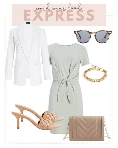 Work wear look from express: pair a white blazer with this mint dress and woven heels for a summer work look. http://liketk.it/3hjcy #liketkit @liketoknow.it #LTKworkwear