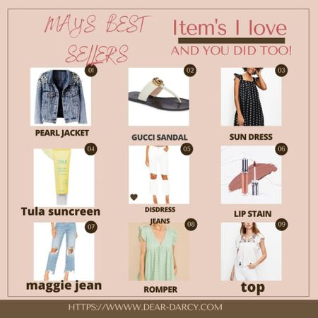 May's Best Sellers🛍  Item I love and YOU did too!…. . These pieces are items you'll wear all season long on repeat! . .  Download the LIKEtoKNOW.it shopping app to shop this pic via screenshot You can instantly shop my looks by following me on the LIKEtoKNOW.it shopping app http://liketk.it/3gV5w #liketkit @liketoknow.it #LTKshoecrush #LTKstyletip    #summerstyle #mayfavorites #maybestsellers #piecesyouneed #distressedjeans #sunscreen #sundresses #summervacatiion #summerpieces
