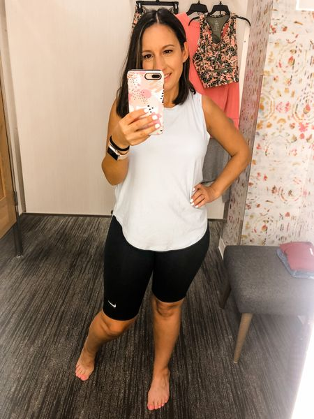 Nike biker shorts and workout top. Nike shorts run small. Size up 1 size. Top runs tts    #LTKunder50 #LTKfit