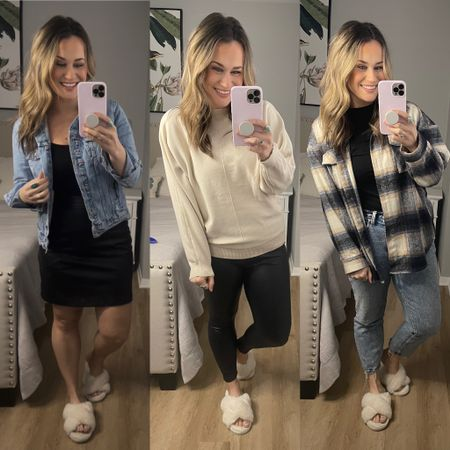 Amazon fashion finds: my three favorite amazon essential fashion finds!  1. Black bodysuit, I also have this in pink and green it's such a good everyday bodysuit, also linked my faux leather skirt it's another amazon find and my distressed jean jacket is on sale right now! 2. Faux leather leggings, these leggings are a spanx dupe and amazing!! Also linked this sweater another amazon find! 3. Black bodysuit, this is the perfect layering shirt! Also linked my shacket and mom jeans!  And my gold hoops and slippers, they are all amazon fashion finds http://liketk.it/37hWP #liketkit @liketoknow.it #LTKstyletip #LTKsalealert #LTKunder50