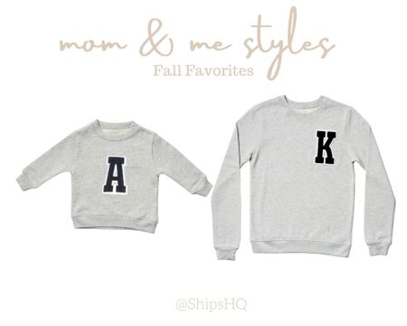 In love with these personalized,  mom and me initial sweatshirts for fall & the colder months. They're organic too 💕 and have options with colored letters too   #giftideas #momandme #twinning #twinningstyle   #LTKbacktoschool #LTKfamily #LTKkids