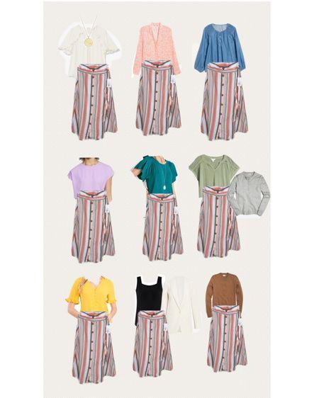 http://liketk.it/3jLou #liketkit @liketoknow.it #LTKstyletip #LTKunder50 #LTKworkwear how to style a pink striped skirt. Work blouses, dressy blouses under $50