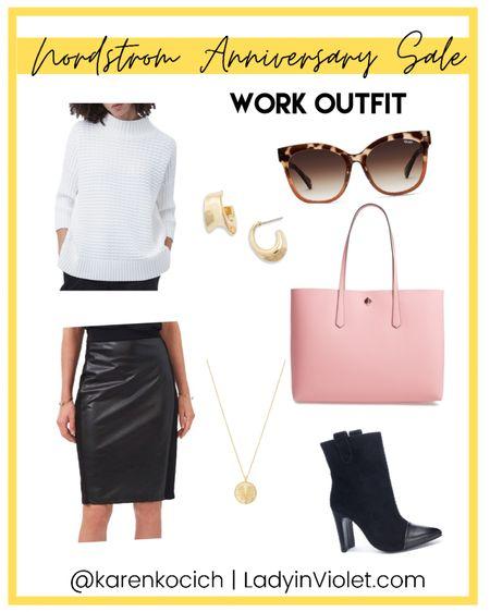 Nordstrom Anniversary sale / nsale work outfit / faux leather pencil skirt / black dress booties / pink tote bag / white sweater / workwear   #LTKsalealert #LTKshoecrush #LTKworkwear