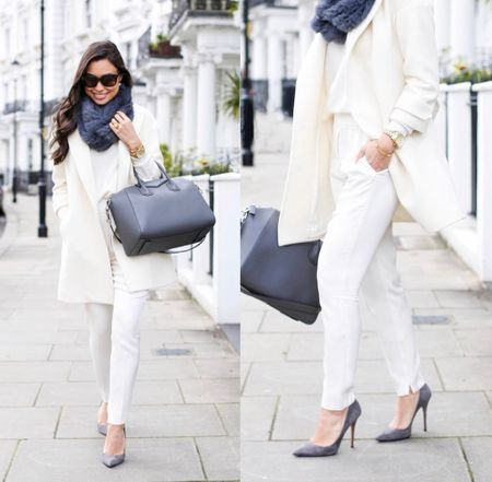 All white outfit with grey details. #fallstyle #pumps  #LTKstyletip #LTKshoecrush