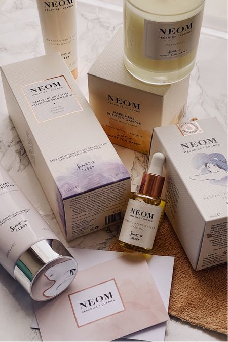 Skincare routine, beauty, skincare favorites, sleep candle, lavender candle, cleanser, cleansing cloth, gentle cleanser, night time skincare routine, neom organics  #LTKunder50 #LTKbeauty #LTKhome
