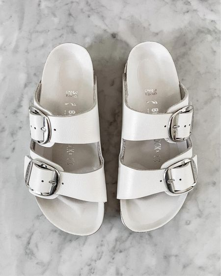 One of my favorite pairs of sandals for summer are these white Birkenstock's. They are SO comfortable and fit tts. Perfect for beach vacation, poolside, or with jeans, shoes, joggers, dresses, etc. so versatile! http://liketk.it/3hjem  #liketkit @liketoknow.it #LTKshoecrush #LTKstyletip #LTKswim