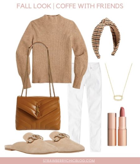 White denim paired with a sweater and neutral accessories, perfect for a coffee date with friends!   #LTKSeasonal #LTKstyletip