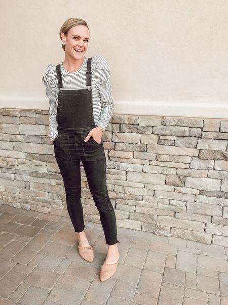 Black skinny overalls, puff-sleeve striped shirt + suede mules #fallstyle #momstyle #overalls  #LTKshoecrush #LTKsalealert #LTKunder50
