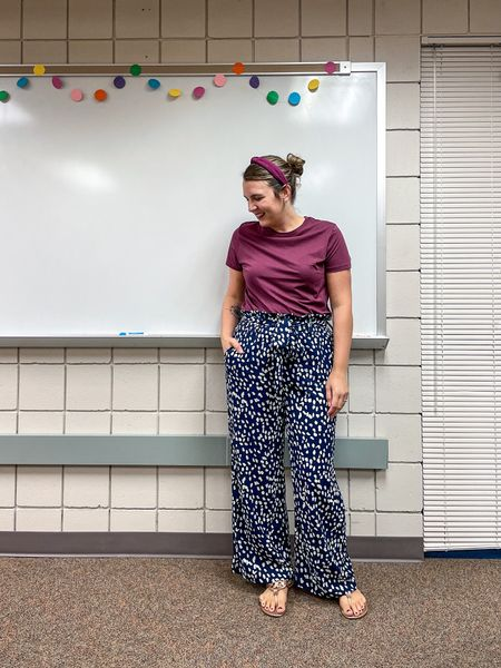 Props to my friend Erin for recommending these wide leg pants! They come in the navy that I'm wearing plus black, red, and brown! They were so comfy today!    #LTKstyletip #LTKworkwear #LTKunder50