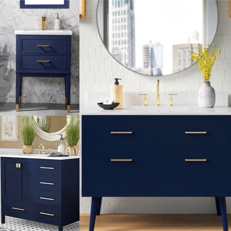 Memorial Day Sale, Save Big—-these chic and stylish navy blue modern bath vanities are elegant and refined and will instantly elevate your bath space.   #LTKsalealert #LTKhome