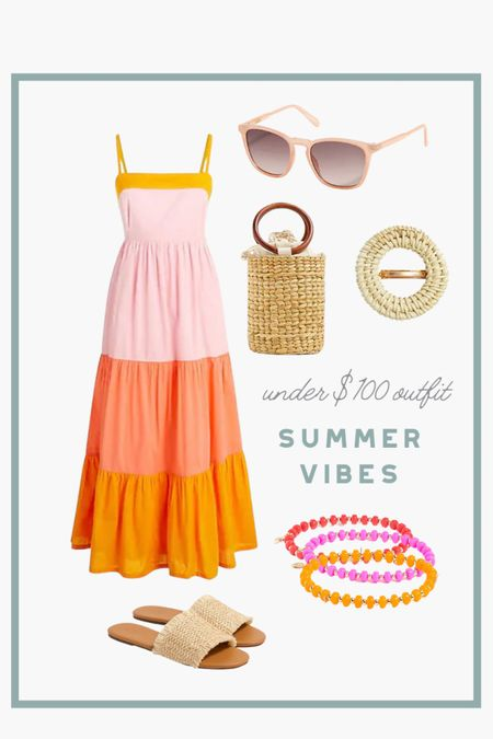 """Get summer ready with this gorgeous outfit. Today save an additional 25% off when you spend more than $100! I'm calling it now, this dress is going to be the """"it dress"""" of the summer. #summerdress #summeroutfit   #LTKunder100 #LTKSeasonal #LTKsalealert"""