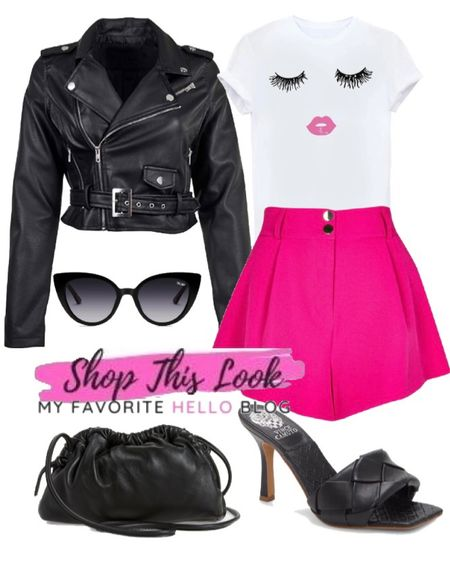 Hot pink shorts outfit with graphic tee, leather jacket, black braided heels and black leather clutch. #hotpinkshorts #edgyoutfit   #LTKunder100 #LTKshoecrush #LTKitbag