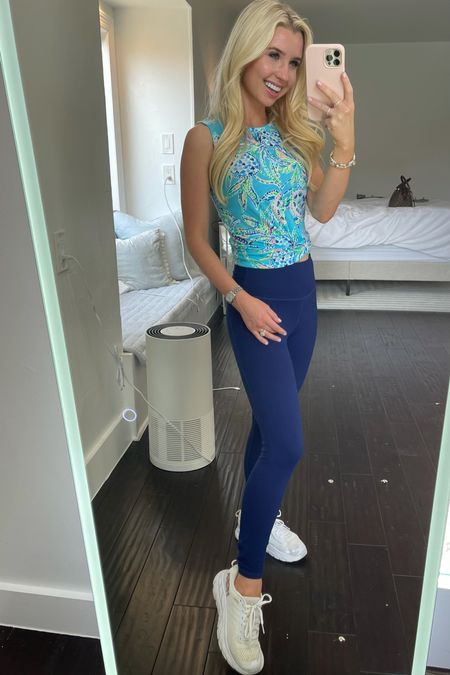 Obsessed with this new workout too from Lilly Pulitzer, and these leggings from Fabletics! They are so supportive! Been wearing mine for years. The Hoka running shoes are my absolute fave. Also linking my watch, favorite travel ring, and Louis Vuitton look alike!   #LTKfit #LTKunder50 #LTKshoecrush