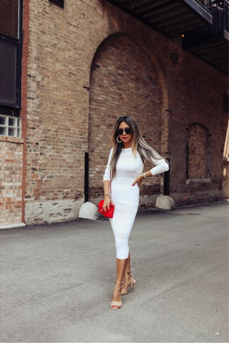 White sweater dress, holiday outfit, fall outfit, midi dress, sweater dress, revolve dress   #LTKstyletip #LTKSeasonal #LTKHoliday