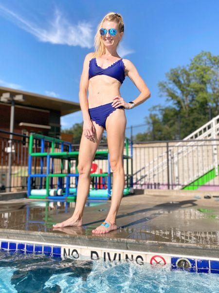 Scallop bikini and mirrored aviators. Hanging onto summer  #LTKfit #LTKswim #LTKunder50