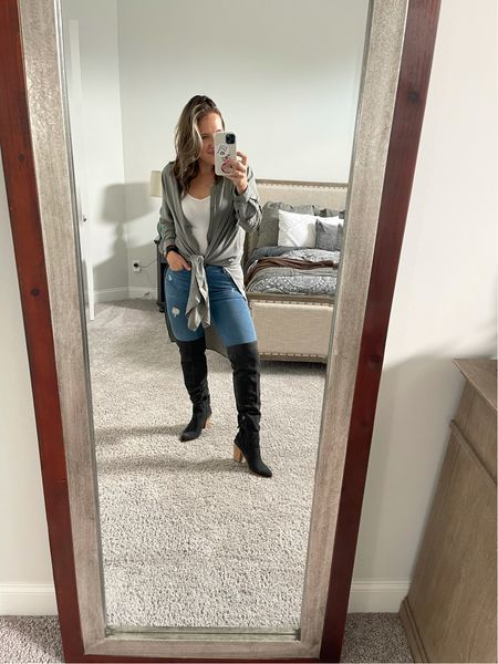 Nordstrom sale shoe crush with these over the knee boots! I didn't get the wide calf but often need to. They fit so well!   Duster is savvi.com/momhack and the Miro duster. SHARE25 for $25 off for new customers  #LTKunder100 #LTKsalealert #LTKshoecrush