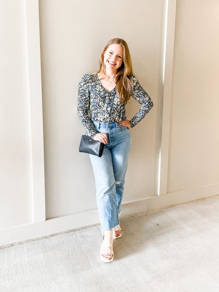 Floral puff sleeve top—wearing a regular XS because Petite XS sleeves were super tight. Otherwise TTS! Levi Ribcage Jeans I would size up one if you're in between!  #LTKunder50 #LTKstyletip #LTKunder100