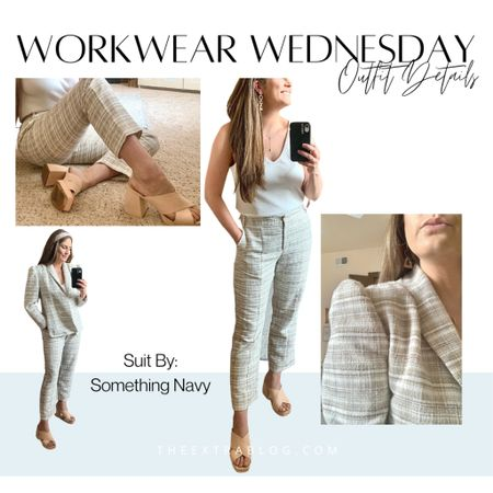 This #somethingnavy suit set is on sale for only $87!!  Sizing: 12 in bottoms (they run smalllllll) and M in the Blazer (I size down in their tops)  #mysomethingnavy  #ltkitworkwear  #LTKworkwear #LTKSeasonal #LTKunder100