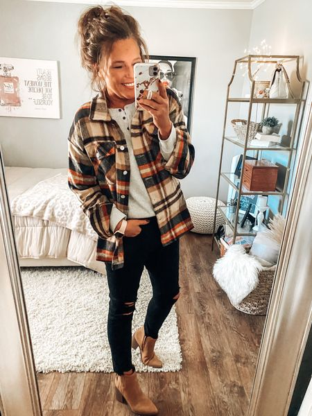 Plaid Shacket from Amazon styled with black distressed jeans with raw hem, taupe booties and gray waffle Henley top. Target style, Shacket, jeans, fall outfits, fall, Amazon fashion, over 40 style, trendy outfits, Amazon finds #ltkfall #founditonamazon  #LTKsalealert #LTKstyletip #LTKunder50