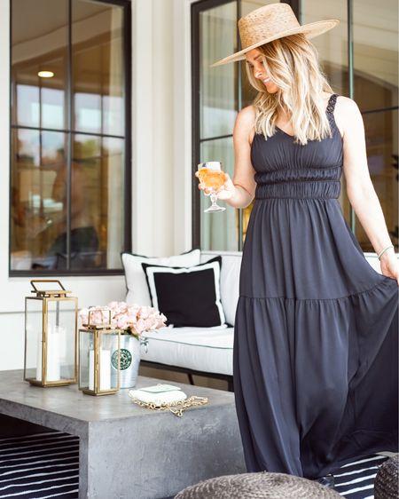 Black midi dress, on sale for additional 30% off with code SUMMERBLISS   summer dresses, straw hat, lack of color,  summer outfit, wearing a XS   #LTKSeasonal #LTKwedding #LTKsalealert