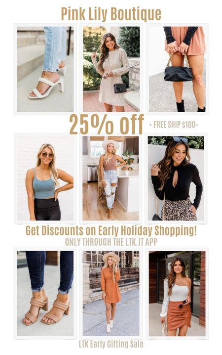 Get discounts on early holiday shopping with the LTK Early Gifting Sale! Get 25% off sitewide at Pink Lily Boutique + free shipping on order $100+. White braided square toe sandals, knit pattern dress, dumpling bag, cropped tank, distressed jeans, black keyhole bodysuit, nude open toe heels, ruse orange dress, leather skirt.   #LTKDay #LTKSale #LTKunder50