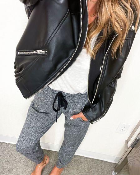 Moto jacket on sale in stock size Xs, tee size Xs, joggers size Xs  #LTKsalealert #LTKunder50 #LTKunder100