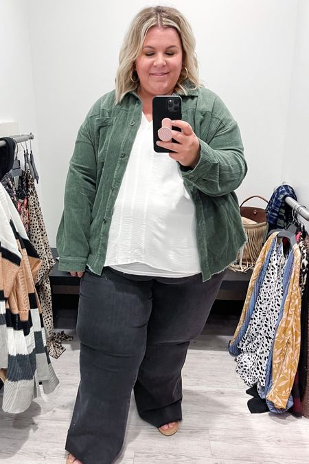 This plus size shacket is the most gorgeous shade of olive green! This would be perfect to top off any plus size fall outfit!   #LTKunder100 #LTKstyletip #LTKcurves
