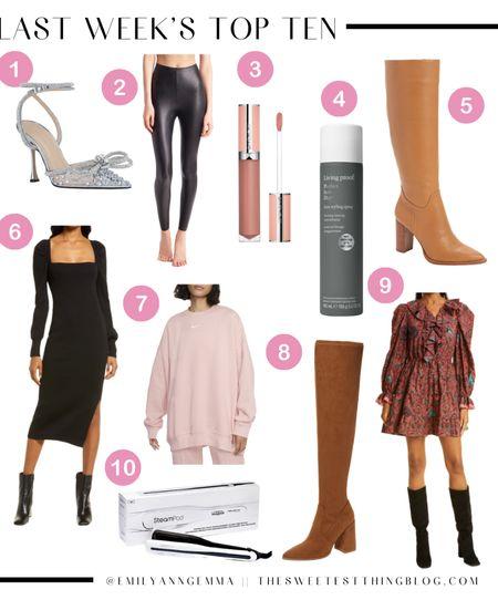 Last Week's Top Ten, Ten Bestsellers, Fall Must-Haves, Emily Ann Gemma, Emily Gemma Top Picks, Nike Sweatshirt, Black Sweater Dress, Fall Dress, Fall Boots, Fall Shoes, Knee High Boots, Over The Knee Boots, Heat Protectant Spray, Lip Gloss, Mach and Mach Heels, Fall Outfits http://liketk.it/3qvLs  #LTKshoecrush #LTKstyletip