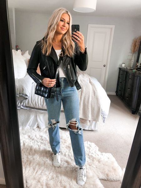 Agolde denim (size down 1-2) from Nordstrom. Leather jacket is US 10 and I'm normally a medium in jackets for reference. Golden Goose   #LTKshoecrush #LTKunder100 #LTKstyletip