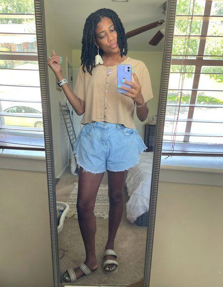 Flowy crop button down tee + Wide leg shorts + Floral ear candy   #LTKunder100 #LTKstyletip