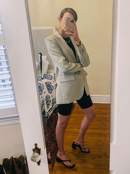 Bike shorts (50% off today only!) with an oversized blazer and thong heels for going out! #bikeshorts  #LTKunder100 #LTKsalealert #LTKSeasonal