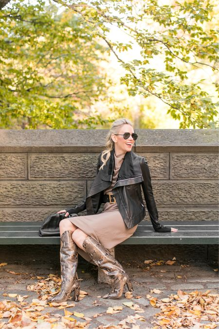 """Want an easy way to spruce up a cool weather outfit? How about an amazing pair of over-the-knee boots!  When the cold temperatures come, we all find ourselves gravitating toward Winter colors, layers and comfort. Boots are the most practical and most fun way to turn your """"just keep me warm"""" look into something classy and chic. Find a pair with some color, print or texture like these snake skin boots by   . The combo of their chunky heel (meaning, I can walk in them!) and style are both fabulous AND functional 🖤   Photo Cred:    http://liketk.it/2J66X #liketkit @liketoknow.it"""