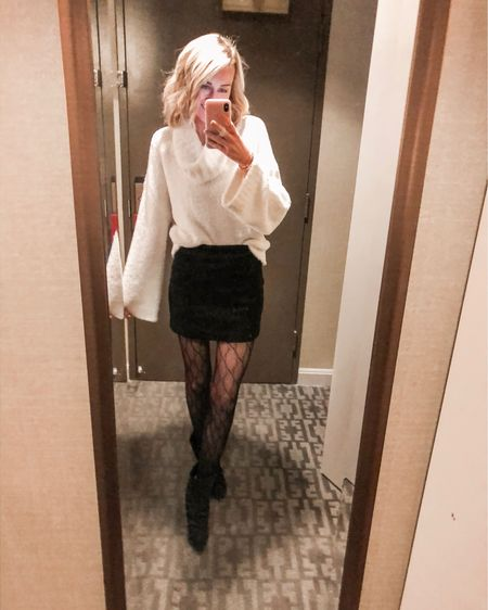 Love these Gucci tights paired with a black corduroy skirt!   Linking similar cowl neck sweaters here too!  http://liketk.it/2HV7g #liketkit @liketoknow.it #LTKholidaystyle #LTKholidaygiftguide #LTKunder100 #guccitights #designer #miniskirt