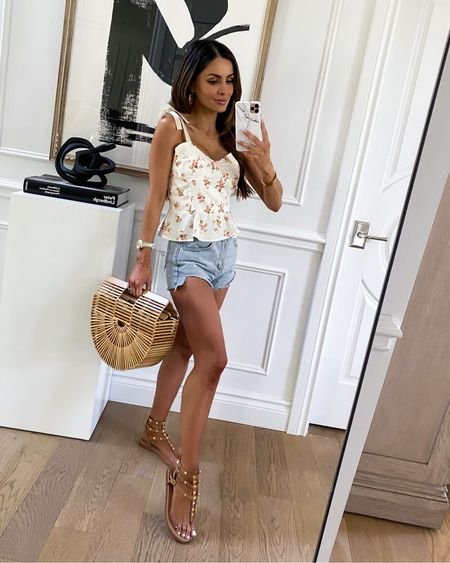 Summer outfit ideas  Goodnight Macaroon outfit on sale with code MARIA40 for 40% off Floral tank top Studded sandals run TTS    #LTKunder100 #LTKsalealert #LTKunder50