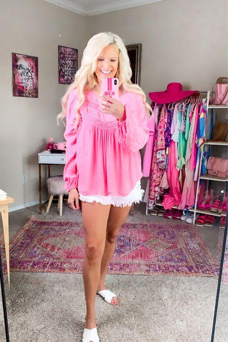 Pink lace Walmart top size M - lightweight  High rise cutoff Jean shorts TTS White sandals TTS  Walmart fashion Workwear top Casual workwear blouse  http://liketk.it/3h437 #liketkit @liketoknow.it #LTKunder50 #LTKstyletip #LTKworkwear