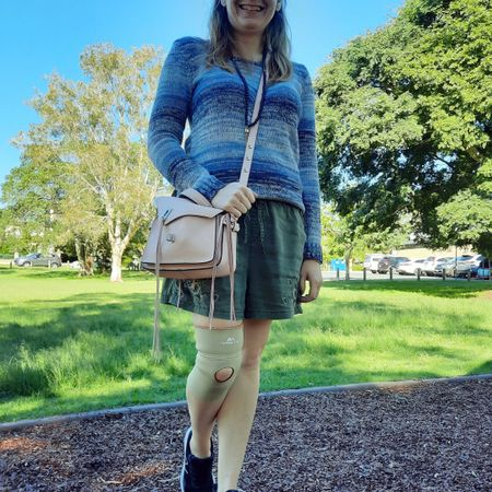 Blue and green 💙💚 Adding a little warmth to these embroidered olive pull on shorts with a cosy ombre stripe blue knit from my sister's wardrobe. And a little extra colour with the blush pink Rebecca Minkoff small Darren Messenger bag 💕  Support bandage on my knee as I'd pushed it a bit too far recently but had a lot of driving to do that day which was impossible to do without that extra support.    --------------------  ----------------- ----------------------  Screenshot this pic to shop the product details from the @liketoknow.it app, or click here: http://liketk.it/3gqto #liketkit #LTKitbag #RebeccaMinkoff