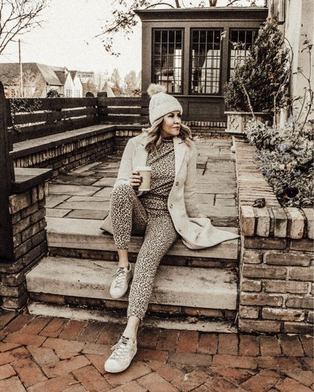 Leopard loungewear paired with a camel dad coat and Golden sneakers. http://liketk.it/334gb #liketkit @liketoknow.it #LTKunder50 #StayHomeWithLTK #LTKgiftspo