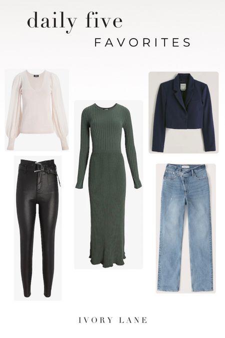 LTK Gifting Sale 5 Favorites of the day. Women's fall fashion. Jeans. Black coated jeans. V-neck sweater. Cropped blazer. Knit sweater dress. Abercrombie & Fitch. Express.  #LTKunder100 #LTKsalealert #LTKSale