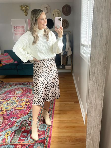 Amazon fashion finds: this chunky sweater and midi skirt are the perfect fall outfit. // boots // skirt outfit // white sweater // amazon finds   #LTKshoecrush #LTKstyletip #LTKworkwear