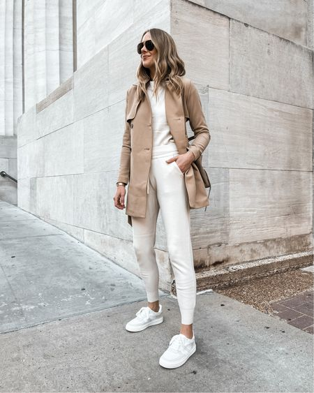 Fall weekends made easy in these comfy sneakers and sweater lounge set from Abercrombie! Wearing a small in the trench coat, sweater, & joggers. Sneakers run 1/2 size big   #LTKstyletip #LTKunder100 #LTKshoecrush