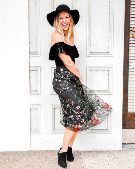 Twirling into the weekend 🖤  linked exact Chicwish mesh embroidered skirt; similar black velvet tops, black Panama hat, and booties!    http://liketk.it/2GVZK #liketkit @liketoknow.it  #LTKunder50 #LTKsalealert #fallstyle