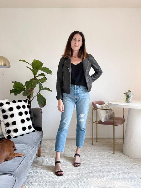 Sandals - @everlane (size 1/2 up) Jacket - AllSaints (size up) Jeans - Levi's straight leg Crop 501 Shirt - black camisole #fallstyling #falloutfits  #LTKstyletip #LTKSeasonal