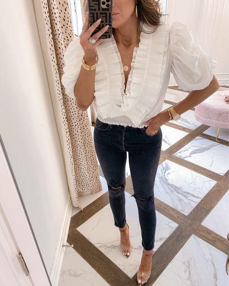 Fall, fall fashion, fall outfits, ripped jeans, emilyanngemma, Emily ann Gemma, white top, ruffle top #LTKunder50 #LTKsalealert #LTKstyletip http://liketk.it/2X5nH #liketkit @liketoknow.it
