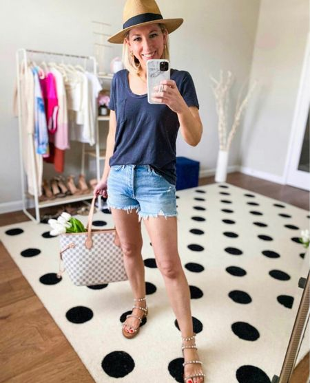 Cute and comfy summer  outfit   Tee is a fave- I have in several colors - true to size wearing small  Agolde Parker Jean shorts- I sized down one to a 25   Sandals true to size  Designer inspired tote bag comes in a set for under $50        Walmart finds, Walmart fashion , Nordstrom finds, Nordstrom tee,   #liketkit @liketoknow.it #LTKSpringSale spring outfit, checkered tote, sandals, jean shorts , faux floral, tulips, amazon fashion, amazon finds, gold jewelry , vacation outfit, summer fashion #ltktravel #ltkseasonal  #ltkday, Abercrombie , the styled collection #ltksalealert  #LTKitbag #LTKunder50 #LTKstyletip