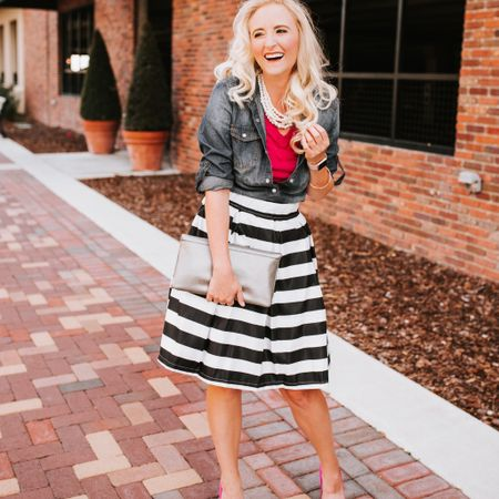 I'm feeling very strong Kate Spade vibes today!  I am obsessed with this look and especially this striped skirt! It's such a modern neutral and a must have for every modern woman's wardrobe! http://liketk.it/2AfyT #liketkit @liketoknow.it  . .  Download the LIKEtoKNOW.it app to shop this pic via screenshot