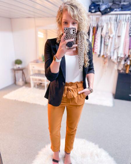 Paper bag waist mustard pants size small / black blazer / white bodysuit size medium / black heels / workwear outfit / work style / look / interview outfit http://liketk.it/3jVT2 #liketkit @liketoknow.it #LTKstyletip #LTKunder50 #LTKworkwear