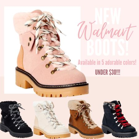 The CUTEST combat, hiking style boots from Walmart! Comes in five adorable colors that are all perfect for the fall and winter! #walmart #boots #booties #combatboots #under30 #fall #winter   #LTKunder50 #LTKshoecrush #LTKSeasonal