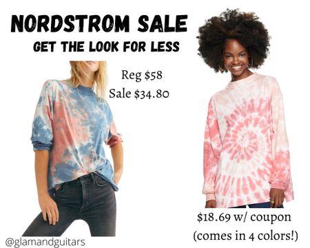 Nordstrom sale; get the look for less! Free People Tie dye mock neck long sleeve tee. Under 20 at this retailer and comes in 4 options!   #LTKstyletip #LTKunder50 #LTKsalealert