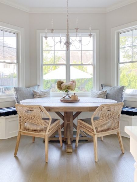 Fall kitchen decor!! This extendable dining table is so gorgeous and even better holds up to kids!! No water stains!  I have the seadrift color!   #kitchentable #falldecor #kitchendecor  #LTKSeasonal #LTKhome