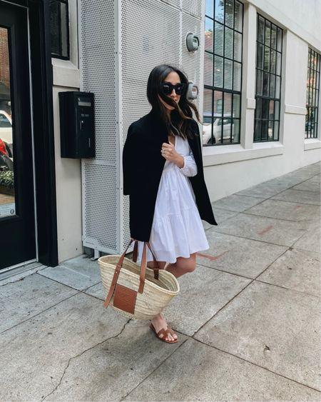 White tiered dress. Petite white dresses.   Blazer - J.Crew xxxs Dress - J.Crew petite 0 (old) Sandals - Hermès 35 Bag - Loewe medium  http://liketk.it/3eMRc #liketkit @liketoknow.it #LTKshoecrush #LTKitbag